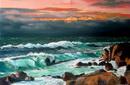 mer forte sous ciel d`orage au crépuscule