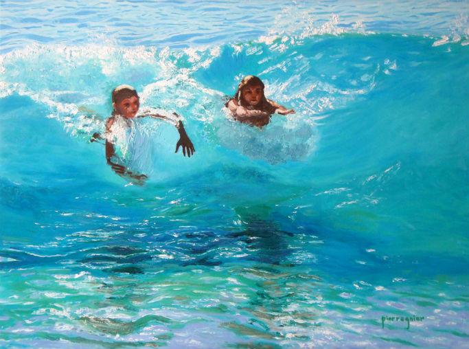 deux ados dans la vague turquoise Carabe