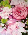 Composition florale à la rose - huile sur toile - pierre régnier