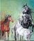pastel 3 chevaux et technique mixte