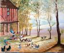Pigeonnier et Poules à Lavernelle - dordogne - huile sur toile