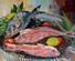 Nature morte 3 poissons: 1 daurade, rougets barbet et grondin