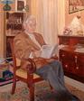 Autoportrait en pied - salon - huile sur toile