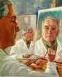 Triple autoportrait à la glace - huile sur toile