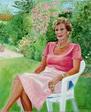 portrait féminin en pied au jardin - huile sur toile