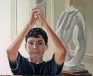 portrait garçon au musée Rodin- huile sur toile
