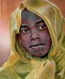 Portrait d`un enfant du Darfour - huile sur toile