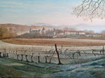 Chateau Chapeau Cornu - les 4 saisons - L`hiver - huile sur toile